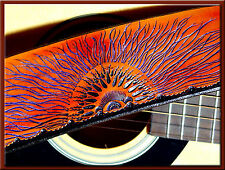 MULTI SUNRISE Design - A Beautifully Hand Tooled and Crafted Leather Guitar St