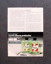 [GCG] M687 - Advertising Pubblicità - 1972 - LECTRIC SHAVE PREBARBA , WILLIAMS