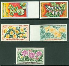 CONGO : 1961-62. Scott #C2-4, C8-9 Flowers. Complete Imperf sets. Very Fine, MNH