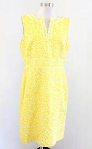 Tahari ASL Levine Yellow White Printed Beaded Embellished Sheath Dress Size 12