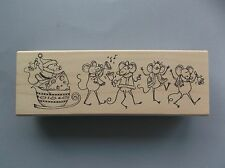 Peddler'S Pack Rubber Stamps Christmas Mice Play & Dance New Stamp