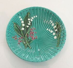 """BEAUTIFUL GERMAN MAJOLICA LILY OF THE VALLEY 9.5"""" PLATE, c. 1920's - EXCELLENT!"""
