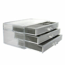 3 Drawer Jewellery Box Clear Ring Display Acrylic Earring Holder Pukkr
