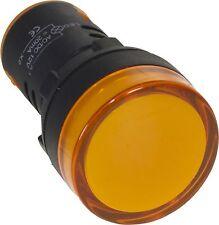 VOYANT LED LUMINEUX LAMPE TEMOIN INDICATEUR DE PANNEAU 22mm ORANGE 220V LOT DE 2
