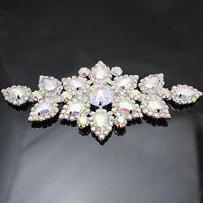1PC SILVER SEW ON RHINESTONE AB LADY BRIDAL APPLIQUE DRESS WEDDING DECOR