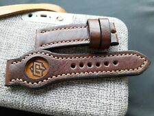 24mm, AMMO leather, Vintage old school Handmade watch strap, panerai, brown
