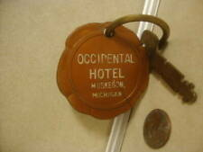 Vintage Collectible Advertising Occidental Hotel Muskegon Michigan Room Key Fob!