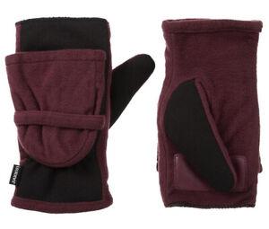 Isotoner Women's Fleece Stretch Flip-Top Mittens (Plum, Large-XL) 30043