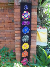 Inspirational Balinese affirmation hand painted hanging banner chakra sml black