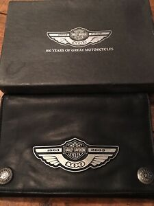 rare Harley Davidson 100th Anniversary Large Leather Wallet And Check book