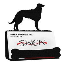 Swen Products Borzoi Dog Black Metal Business Card Holder