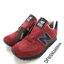 New Balance 574 Classics Men's 8.5 Made In USA Suade Red Navy Shoes US574XAD New