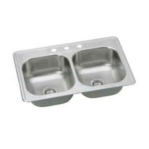 """PROFLO PFSR332263 33"""" Double Basin Drop In Stainless Steel - Stainless Steel"""