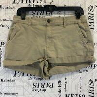 A New Day Womens Khaki Shorts Stretch Flat Front Size 6
