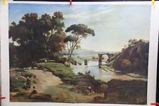 """Large Vintage Lithograph  Print """" The Bridge Of Narni"""" By Camille Corot"""