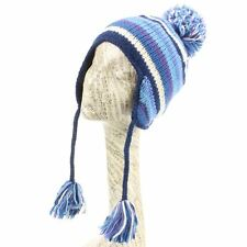 Hat Wool Earflap Stripe Striped Ear Flap Fleece Winter Beanie Knit Blue White