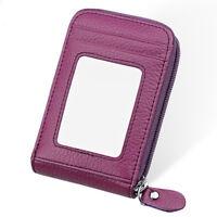 Credit Card ID Card Holder RFID Blocking Zip Business Travel Pocket Wallet