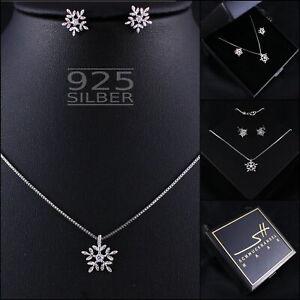 Schneeflocke Schmuckset, 925 Sterling Silber Damen, im Etui, Schmuckhandel Haak®