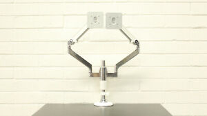 M/Flex Dual M2 Monitor Arm/Stand by Humanscale - Off White & Chrome Finish