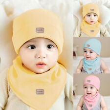 Newborn Baby Hat Set Boy Girl Cute Soft Warm Cotton Beanies Cap Hat Scarf Set