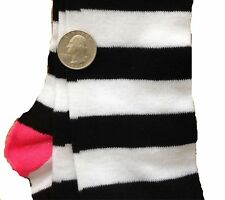 Pink-BLACK WHITE STRIPE KNEE CALF SOCKS-Rag Doll Witch Novelty Costume Accessory