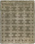 Contemporary Olive Vittorio Geometric Wool and Silk Rug N10381
