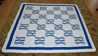 Vintage Blue & White Chain & Hourglass Patchwork Quilt 71x72.5