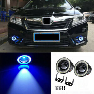 3.5INCH Car Auto Angel Eyes Halo Ring DRL Lamp COB LED Fog Light Projector Blue