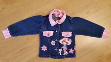 STRAWBERRY SHORTCAKE Denim Blue Jean Jacket Pink Animal Print Corduroy Sz 2T