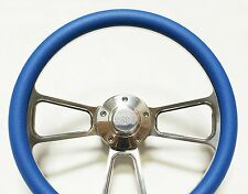 "Nova Camaro Chevelle El Camino  Blue & Billet Steering Wheel with SS Horn - 14"""