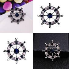 Style Unisex Decorations Crystal Rhinestone Nautical Brooch Badge Pin Navy