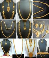 Indian 22K Gold Plated Wedding Necklace Earrings Chain Different Variations set