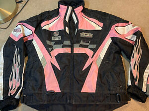 Castle X Girl's Insulated Snowmobile Jacket Size L Black Pink Lined Snow