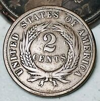 1865 Two Cent Piece 2C Higher Grade Good Civil War Date US Copper Coin CC5628
