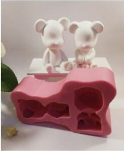 Silicone Handmade (Two seated bear 3D) Soap Mould Plaster Mold