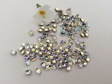 Swarovski #4401 Squares foiled 4x4mm Crystal Glacer Blue Craft x12 Post Free