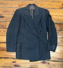 Mens Vintage 1940s Double Breasted Pinstripe Peak Lapel Suit Jacket Size 36R