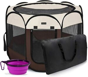 HEPEENG Portable Foldable Pet Playpen, Small Puppy Tent Brown w/ Food Bowl NEW