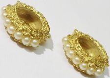 boucles d'oreilles clips bijou vintage couleur or anneau perle blanche * 3507