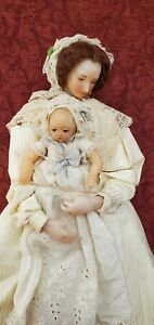 "Vintage Artist Wax & Clothe Mother and Child Dolls 18"" Adorable Set"