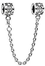 New Authentic Genuine Silver PANDORA Flower Safety Chain - 790385