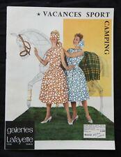 E) Catalogue ancien VACANCES SPORT CAMPING GALERIES LAFAYETE 1958