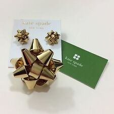 NEW KATE SPADE GOLD BOURGEOIS BOW SET STUD EARRINGS SIZE 7 RING
