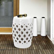 New listing Outsunny Modern Ceramic Lattice Garden Stool Accent Table Decorative White