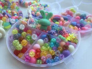 Girls DIY Craft Beads Kids Gems Childrens Jewelry Making Kit Set Box Bday Gift