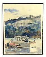 VINTAGE KEITH COMEY 77 PHOTOGRAPH OF ORIGINAL WATERCOLOR PAINTING BOAT NAUTICAL