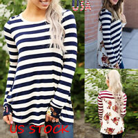 Women Long Sleeve O Neck Tee Tops Flora Printed Striped Stitching Casual T-shirt