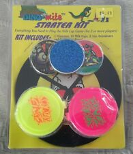 """Dino-Mite Milk Caps Pogs Starter Kit Game Slammer 2 Containers 5"""" Playing Board"""