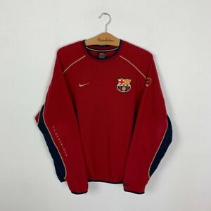 FC BARCELONA TRAINING FOOTBALL SWEATSHIRT 90s TRACK TOP JACKET NIKE JERSEY L