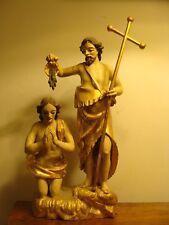 Alte Holz Figur geschnitzt Johannes mit Kreuz Stab tauft Jesus gefasst um 1800